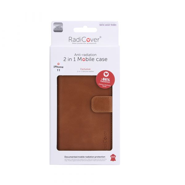 Exclusive 2-in-1 - iPhone 11 - genuine leather - 86% protection - brown