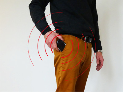 Do not keep the mobile phone in your trouser pocket
